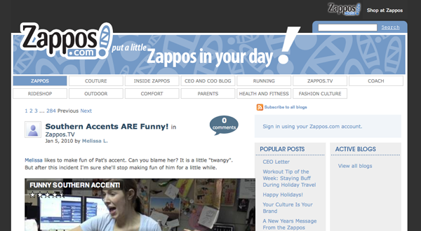 Zappos Blog