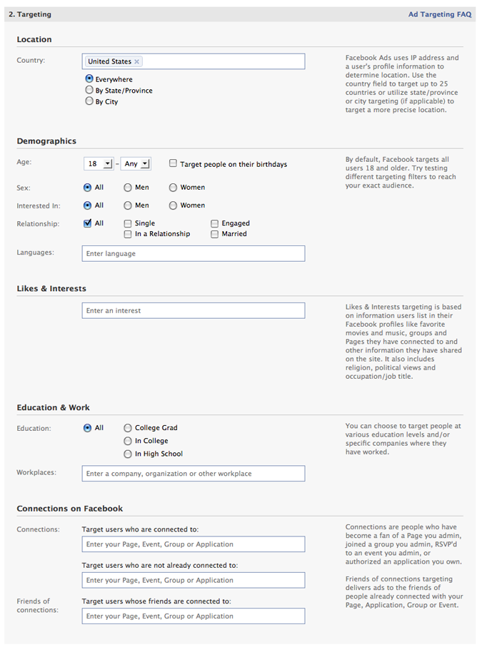 Facebook Tarketing Options